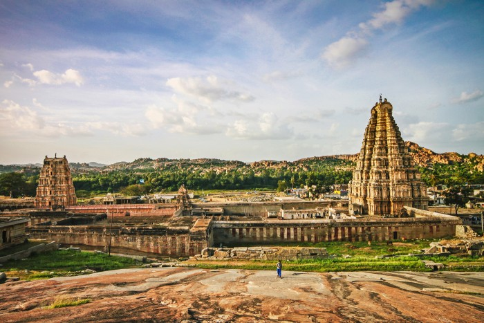 Panoramic view of Virupaksha temple surrounded by ruins Hampi, India More on Hampi: https://mangalika.com/happyfeet/in-search-of-a-lost-empire-hampi/