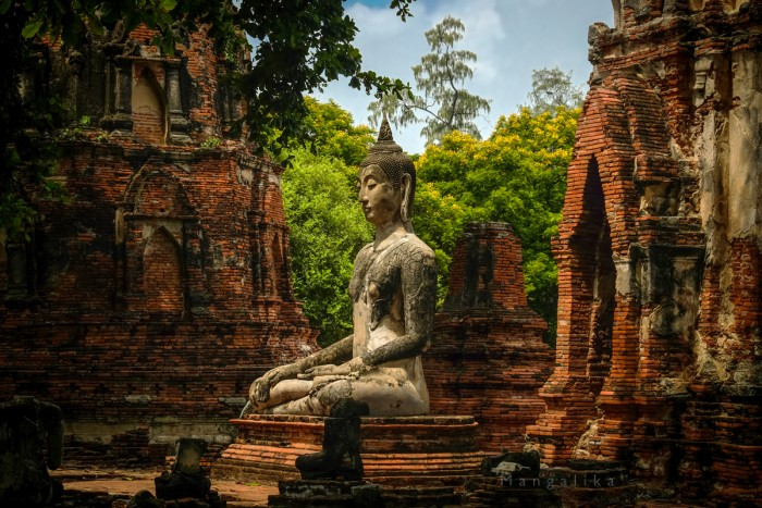 Ruins of Wat Mahathat temple in Ayutthaya, the ancient Thai Capital Ruins of Wat Mahathat temple in Ayutthaya, a UNESCO World Heritage Site in Thailand