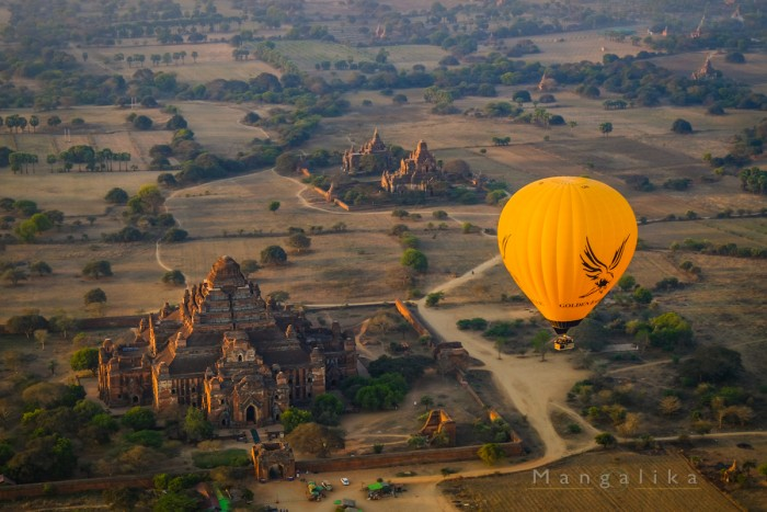 A hot air Balloon floats over Bagan Archaeological Zone,Myanmar Shot at Myanmar