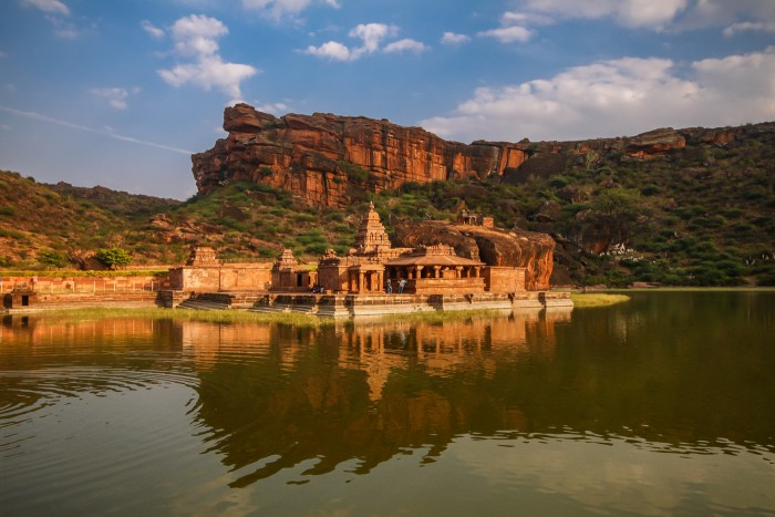 Bhutanatha temple, a 7th century sandstone temple in Badami, India Built during the reign of the Chalukyas, this temple is surrounded by mountain regions, Badami fort and the Badami city from four sides